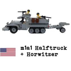 m1a1 Halftruck + Horwitzer + 3db figura + M1919 fegyver